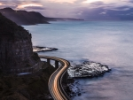 wonderful coastal road at sunset