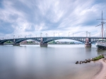 theodor heuss bridge on the rhine river in germany hdr