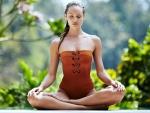 Candice Swanepoel in Yoga Pose