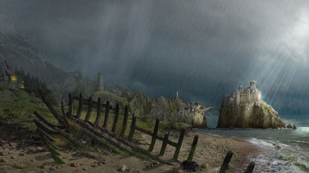 Great image!!! - mystical, fantasy land, mist, sea, beach, fantasy, shipwreck, seaside, rain, evening, castle, old village