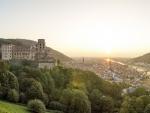castle above heidelberg at sunset
