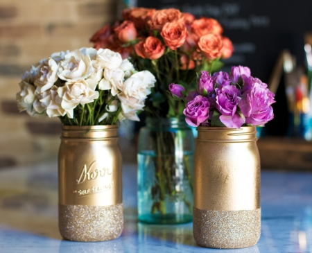 ░❀░ - glitter, decoration, ideas, painted, roses, glass, vases, mason, crafting, flowers, hobby, jars