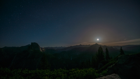 moonrise over yosemite - stars, night, moon, mountains, trees