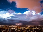lightning storm over a city
