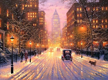 Winter city lights winter nature background wallpapers on desktop nexus image 2042352 - Snow night city wallpaper ...