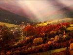 Village in autumn mountain