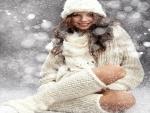 Girl in white snow