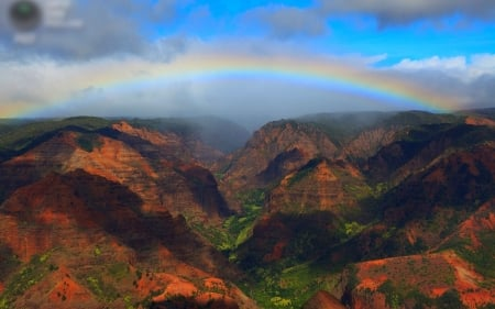Waimea Canyon, Kauai, Hawaii - island, rainbow, usa, mountains, pacific
