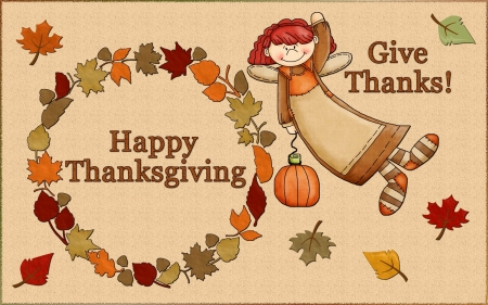 Thanksgiving~Give Thanks - Fall, leaves, Thanksgiving, circle, angel, pumpkin, Autumn, Happy Thanksgiving
