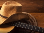 Hat, guitar and rope