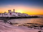 Nubble Lighthouse, Maine In Winter