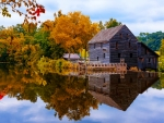 House on autumn lakeshore
