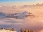 sea of clouds in switzerland hdr