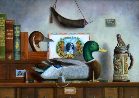 Montana Sport F - art, old master, books, George Hartley, beautiful, artwork, powder horn, decoy, still life, stein, painting, wide screen, Hartley, oldmaster