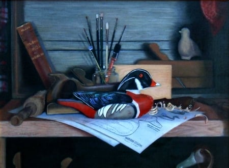 The Wood Duck F - art, old master, brushes, George Hartley, beautiful, artwork, decoy, still life, duck, painting, wide screen, Hartley, oldmaster
