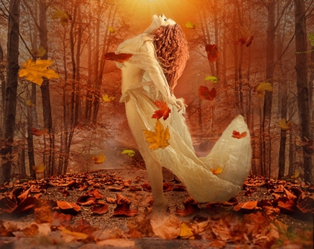 Lady Autumn - fall leaves, autumn, collage, abstract, lady