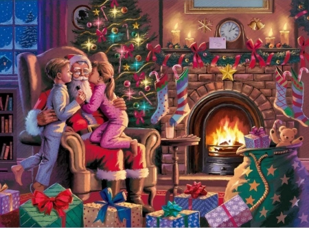 Kissing Santa - fireplace, christmas tree, cozy, painting, children, season, artwork, chimney