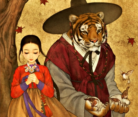 Beauty and the Beast - red, autumn, orange, manga, tiger, kimono, animal, obsidian, hat, leaf, girl, bird, anime, beast, asian, beauty