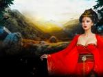Geisha in Red Kimono