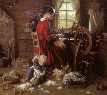 old time moment - daughter, moment, people, painting, interior, old time, mother