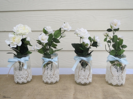 ░❀░ - decoration, ideas, crafts, roses, wedding, glass, vases, mason, white, jars