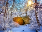 Stone bridge in winter