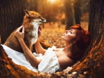 Redhead and fox