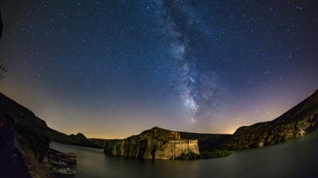 stars over fortress rumkale turkey on euphrates river - stars, fisheye, cliffs, fortress, river, night