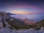 mountainview of monaco on morning fog