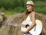 Cowgirl Katya Clover with Guitar