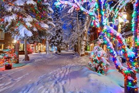 Christmas In Colorado.Christmas Lights In Aspen Colorado Winter Nature