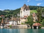 castle oberhofen on lake thun switzerland