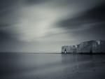 coast of reculver england in monochrome
