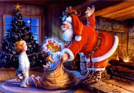 Special Gift from Santa - warm, christmas, winter, sweet, fireplace, tree, santa, boy, toys, gifts