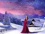 Beautifull landscape with woman in red dress snow