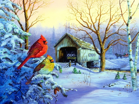 Snowy haven - art, birds, covered, beautiful, trees, winter, cardinals, tree, haven, gathering, snow, bridge, painting