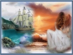 woman,sea,boat,sun,