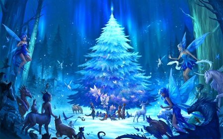 northolme fae northern lights christmas tree magic dragon fantasy butterfly