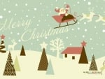 Lovely vector art of santa claus in sky