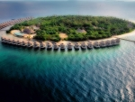 fantastic aerial view of tropical island resort hde