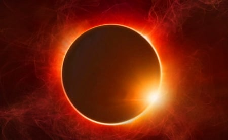 Eclipse - Black, Orange, Moon, Sun