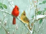 Cardinals in Sumac