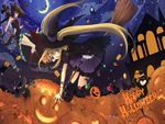 2 girls aki pixiv4170 animal ears halloween original pumpkin witch