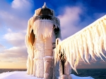 Lighthouse Covered with Ice