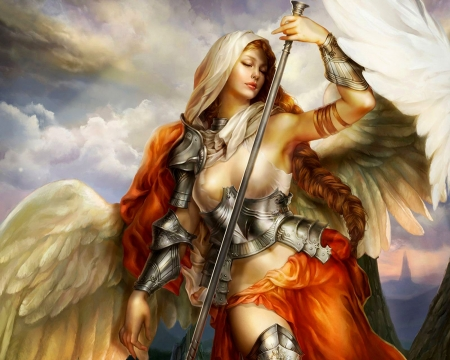 Serenity - armor, wings, angel, magic, elemental
