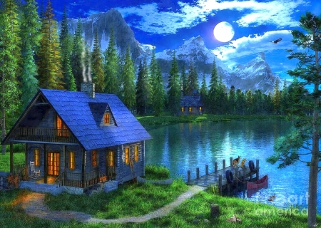 Waiting For Master  - moons, lakes, paintings, moonlight, love four seasons, attractions in dreams, cabins, fishing