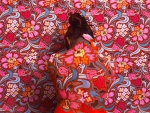 Girl in front of quilt_Bodypaint