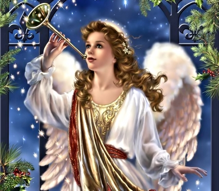 Vintage Christmas Angel - Christmas, Painting, Angel, Vintage
