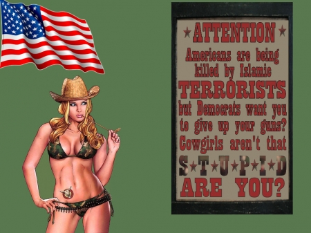 America Under Attack? - female, models, hats, freedom, America, fun, women, guns, NRA, bullets, cowgirls, girls, fashion, western, political, style