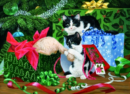 Christmas Party F - Christmas, art, holiday, December, beautiful, cat, illustration, artwork, pet, feline, painting, wide screen, occasion, scenery